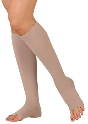 Juzo Varin Knee High Open Toe Short 30-40mmHg, III, Beige (40 Mmhg Beige Short)