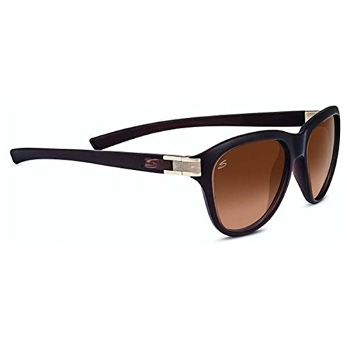 Serengeti Cosmopolitan Elba Sunglasses, Sanded Crystal Brown/Satin Brass, Brown Lens by Serengeti