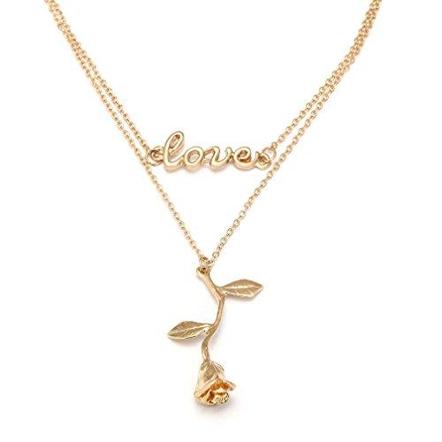 SUNSCSC Tiny Delicate Love Heart Letter Rose Pendant Set Choker Statement Bib Necklace for Women Girl (Rose 715)