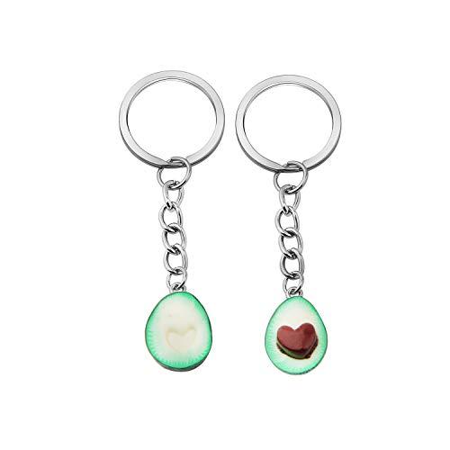 MYOSPARK Avocado Keychain Set for Best friends Couples Matching Keychain Heart Love Gift for Vegans (Avocado Keychain) (Necklace Love Key)