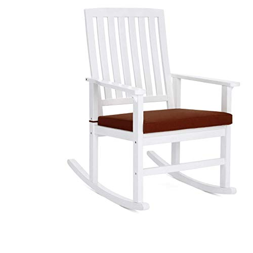 (Weather-Resistant Hardwood Patio Rocking Chair With Soft Brown Cushion Comfortable Armrest Backrest Glider Rocker Porch Seat Indoor Outdoor Use Home Living Room Bedroom Deck Backyard Balcony Furniture)