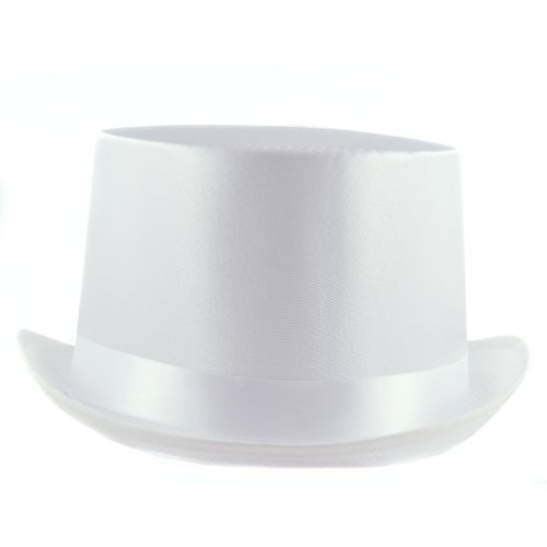 HMS Satin Top Hat, White, One Size (White Satin Top Hat)