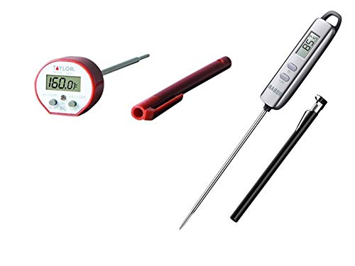 (Taylor Commercial Waterproof Digital Cooking Thermometer and Habor 022 Meat Thermometer Variety Pack, Instant Read Thermometers Bundle)