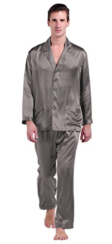 (LilySilk Silk Pajamas for Men Charmeuse Luxury 22 Momme Pure Mulberry Silk Dark Gray L)