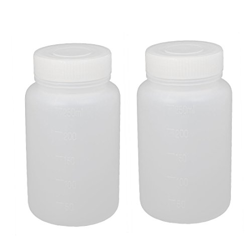 Mouth Environmental Sample Bottle - uxcell 2Pcs 250ml Plastic Wide Mouth Laboratory Reagent Bottle Sample Sealling Bottle White