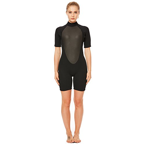 FLEXEL Wetsuit Shorty Women Surfing Suit Snorkeling Spring Suit Standup Paddling Wetsuits (3mm Black, - Ladies Wetsuit Shortie