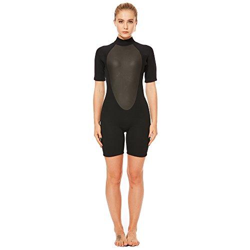 FLEXEL Wetsuit Shorty Women Surfing Suit Snorkeling Spring Suit Standup Paddling Wetsuits (3mm Black, - Shortie Wetsuit Ladies