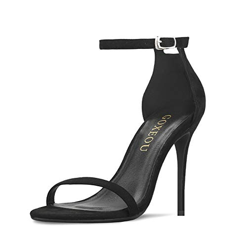 GOXEOU Women's Ankle Strap Heeled Sandals Round Open Toe High Heels Party Evening Dress Sandals
