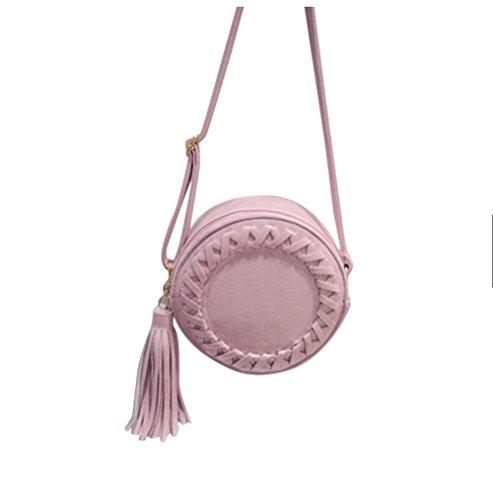 Small Tassel Circular Crossbody Purse Mini Crossover Phone Shoulder Bag for Women Pink