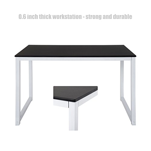 Modern Design Laptop Computer Wooden Table Solid Powder Coated Steel Frame Durable Workstation Desk Home Office Furniture - Black # 1388