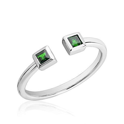 - Jewels by Erika R-102EM 10K White Gold Split Open Shank Precious Stone Ring Size 6.5
