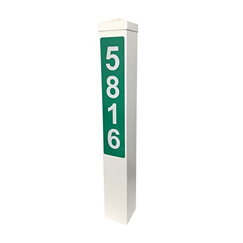 """- Addresses of Distinction White Address Post with Reflective Numbers – 32"""" Tall Customized House Marker - Hardware & Mounting Stake Included - Help Vehicles Find Your Home (Hampshire, Green Reflective)"""