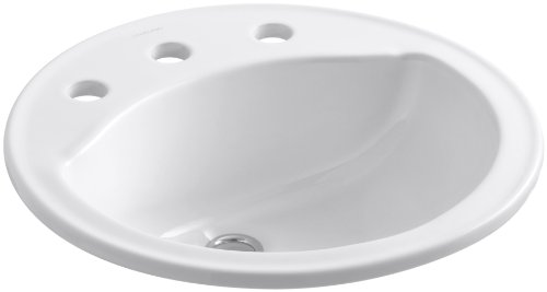 Self Rimming China Lavatory (Sterling 441908-0 Modesto 19-Inch by 19-Inch by 8-Inch Round Lavatory,)