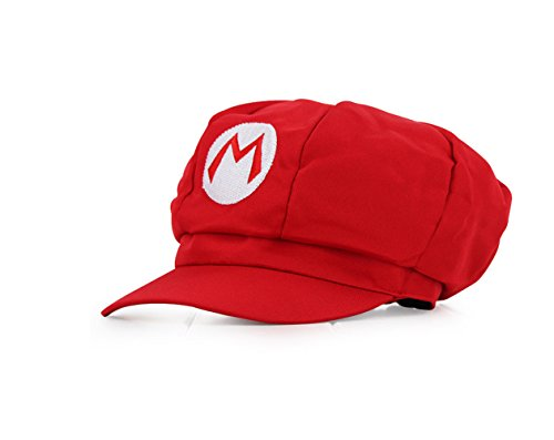 [Unisex Super Mario Bros Cosplay Hat Cap Newsboy Gift (Red)] (Nintendo Costumes For Adults)