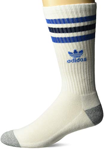 Classic Crew Sport Socks - adidas Men's Originals Roller Crew Socks (1-Pack), white/blue bird/mystery blue/heather grey, 6-12