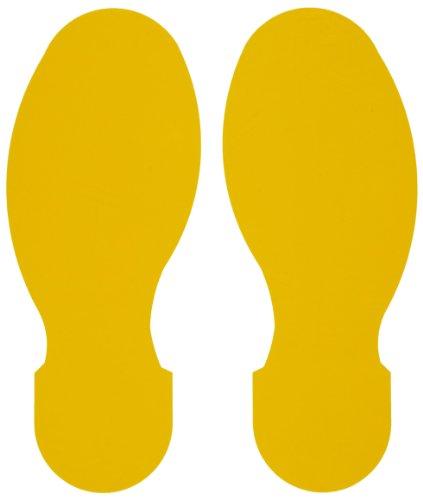 Brady ToughStripe Nonabrasive Footprints Floor Marking Tape, 10 Length, 3-1/2 Width, Yellow (Pack of 10 Per Roll)