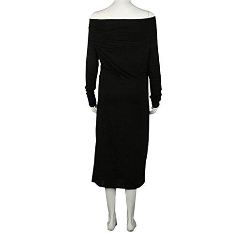 Tongshi Las mujeres Sweet Girl de manga larga del hombro del invierno estiramiento de Bodycon vestido largo Negro