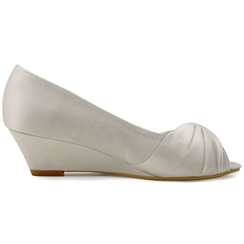 ElegantPark Women Peep Toe Pumps Rhinestones Mid Heel Wedges Satin Wedding Bridal Shoes Ivory NG4FL