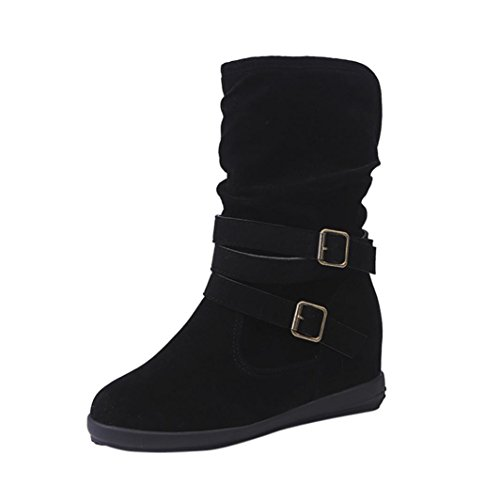 Creazy Ladies Womens Low Wedge Buckle Biker Ankle Trim Flat Ankle Boots Shoes (Black, 40)