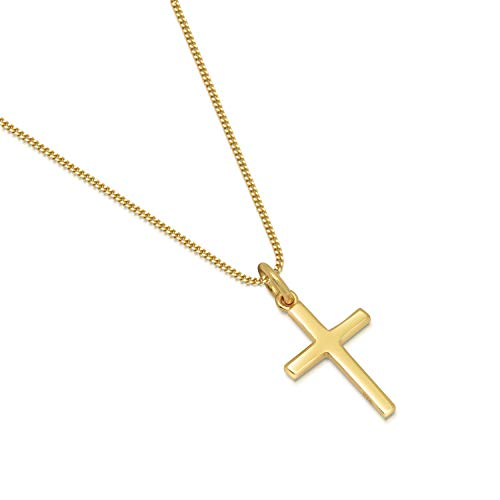 14K Gold Plated Sterling Silver Small Cross Pendant Italian Made Curb Chain Necklace - Choice of Sizes