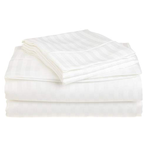 read Count Striped Sheets for Bed -100% Long Staple Egyptian Cotton, Woven 800 TC Stripe King White 4 Piece Bedding Set Hotel Quality, OekoTex Certified ()