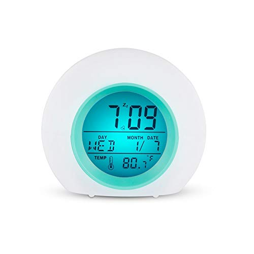 longdelaY6 Wall,Digital Alarm Clock, Round Colorful Backlight LED Time Date Temperature Display Snooze Alarm Clock - Blue ()