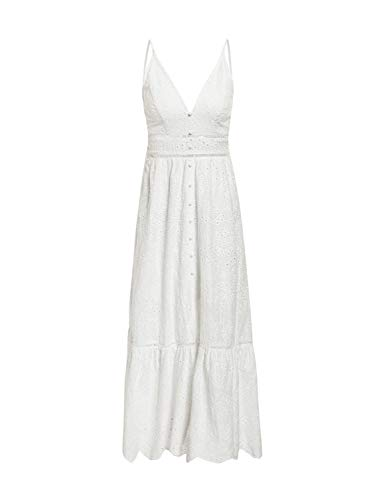 BerryGo Women's Embroidery Pearl Button Down Dress V Neck Spaghetti Strap Maxi Dress 2