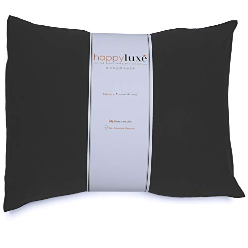 HappyLuxe Travel Pillow, Eco Friendly Accessories, This Small Neck Pillow is Bigger Than Most Airline Pillows, 18