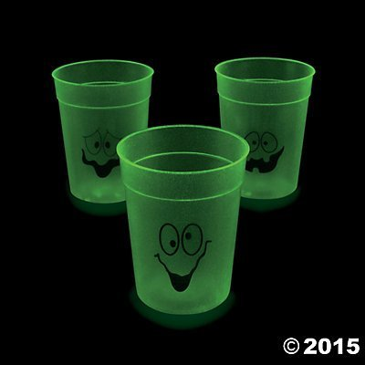 Oriental Trading Glow-in-the-Dark Halloween Cups, 2 Pack of 1 Dozen, 24 Count, Plastic, Assorted Faces