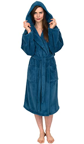 TowelSelections Women's Robe, Plush Fleece Hooded Spa Bathrobe Medium/Large Deep Water