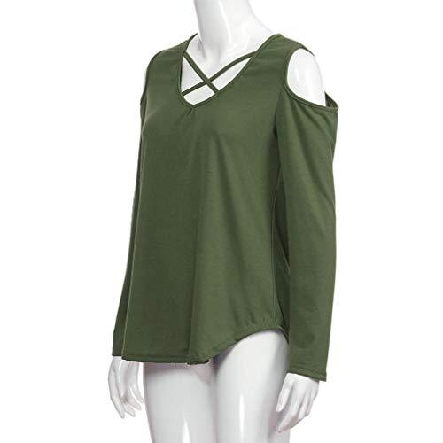V Blouse Shirt Casual Col Vert Tops Froide T Aimee7 Femme Haut Cross Manche Longue Épaule FCx1wZq7