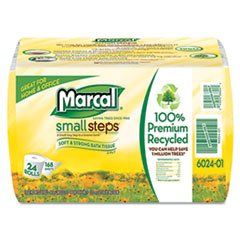 MARCAL MANUFACTURING, LLC, 100% Recycled Convenience Bundle Bathroom Tissue Roll, 168 Sheets, 24/Carton
