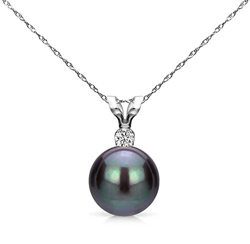 14K White Gold 1/100 Ct Diamond & Black-Grey 7-7.5mm Freshwater Cultured Pearl Pendant Necklace (G-H, SI1-SI2), 18