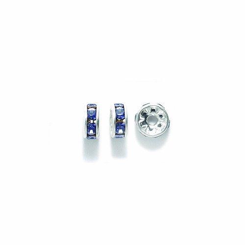 Preciosa Rhinestone Rondelle Beads, 6mm, Tanzanite, 36-Pack