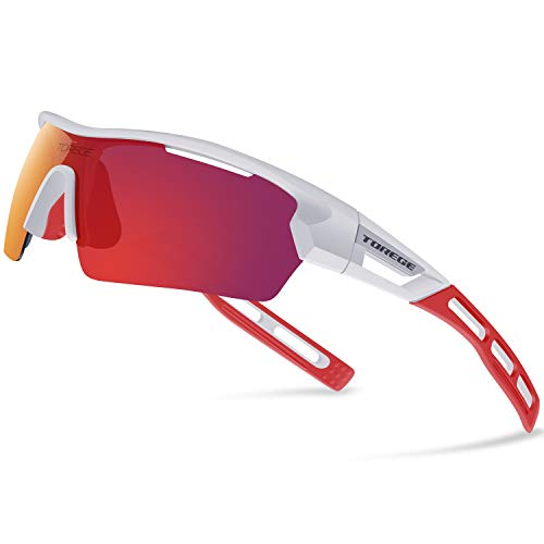 Torege Polarized Sports Sunglasses for Men Women Cycling Running Driving TR033(White&Red tips&Red lens)