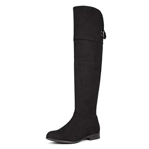 DREAM PAIRS Women's HI_Flat Black Over The Knee Stretchy Thigh High Boots Size 11 B(M) US]()
