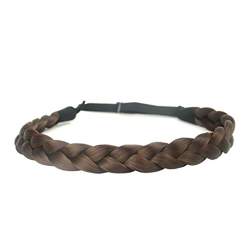 DIGUAN Synthetic Hair Braided Headband Classic Chunky Wide Plaited Braids Elastic Stretch Hairpiece Women Girl Beauty accessory, 55g aHairBeauty (#Chestnut)