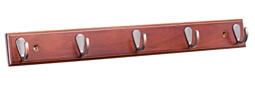 (BirdRock Home Modern 5 Hook Coat Rack | Wall Mounted Key Cap & Hat Rack | Walnut Finish | Bronze Hooks |)
