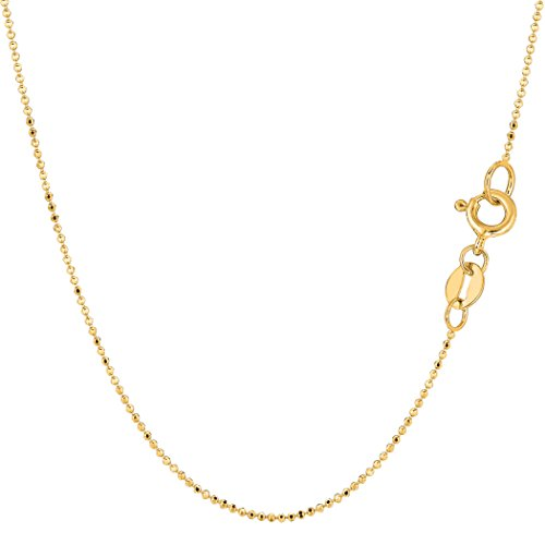 14k Yellow Gold Diamond Cut Bead Chain Necklace, 1.0mm, 20