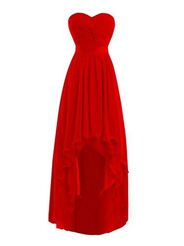 Sans Rouge Fête Jaeden D'honneur Haut Robes De Bretelles bas Bal Chiffon Demoiselle Robe qq8wF1A