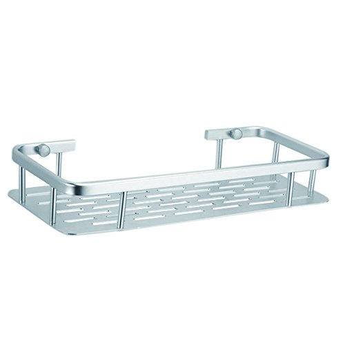 Onkuey Durable Aluminum Bathroom Shelf Shower Storage Shelves Baskets Wall Mounted, Rectangular 1-Tier