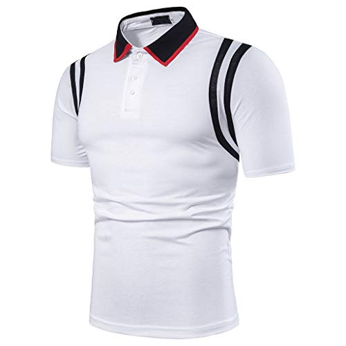 Men's Athletic Golf Polo Shirts,MmNote Bodybuilding Body Shaper Sweat-Wicking Technology Lightweight Short Sleeve White