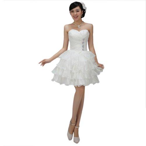 Kurz Herz Ballkleid Kristall Organza Mini Mit Ausschnitt Damen Weiß Brautkleider Dearta Kleidungen Drapiert wqOnTSXE