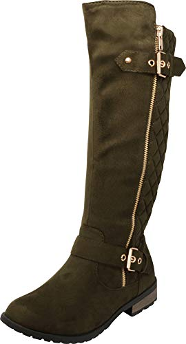 Cambridge Select Women's Quilted Side Zip Knee High Flat Riding Boots Olive Imsu
