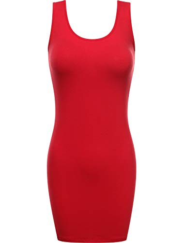 Fifth Parallel Threads FPT Women's Scoop Neck Bodycon Mini Tank Tunic Dress RED L