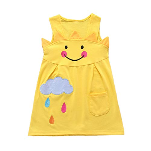 (Matoen Toddler Baby Girls Dress Smiley Face Cartoon Cloud Print Sleeveless Skirt Clothes (12-18 Months) Yellow)