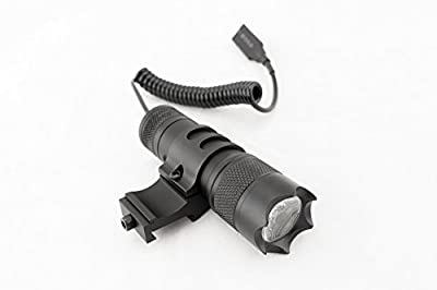 Monstrum Tactical 150 Lumens Flashlight with Remote Pressure Switch and Picatinny Rail Mount