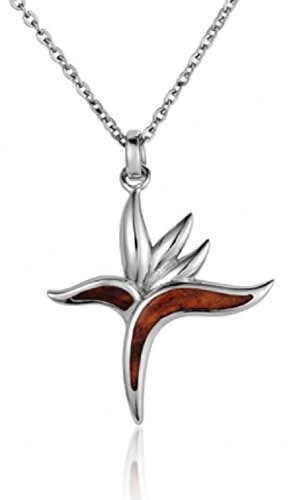 Aloha Jewelry Company Sterling Silver Koa Wood Bird of Paradise Necklace Pendant with 18