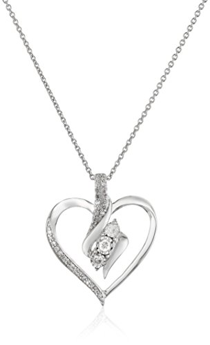 (Sterling Silver Diamond 3 Stone Heart Pendant Necklace (1/4 cttw),)