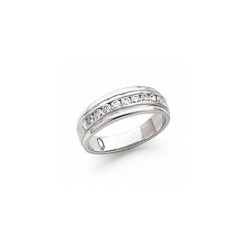 JewelrySuperMart Collection 3/8 CT 14k White Gold AA Diamond Men's Band. 0.369 ctw.